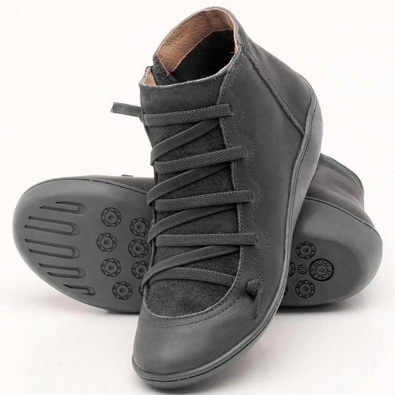 Litthing Delle Donne Scarpe Comode Chaussure Homme casual Piatto Stivali Donne In Microfibra In Pelle Autunno Inverno Trekking Caviglia Stivali