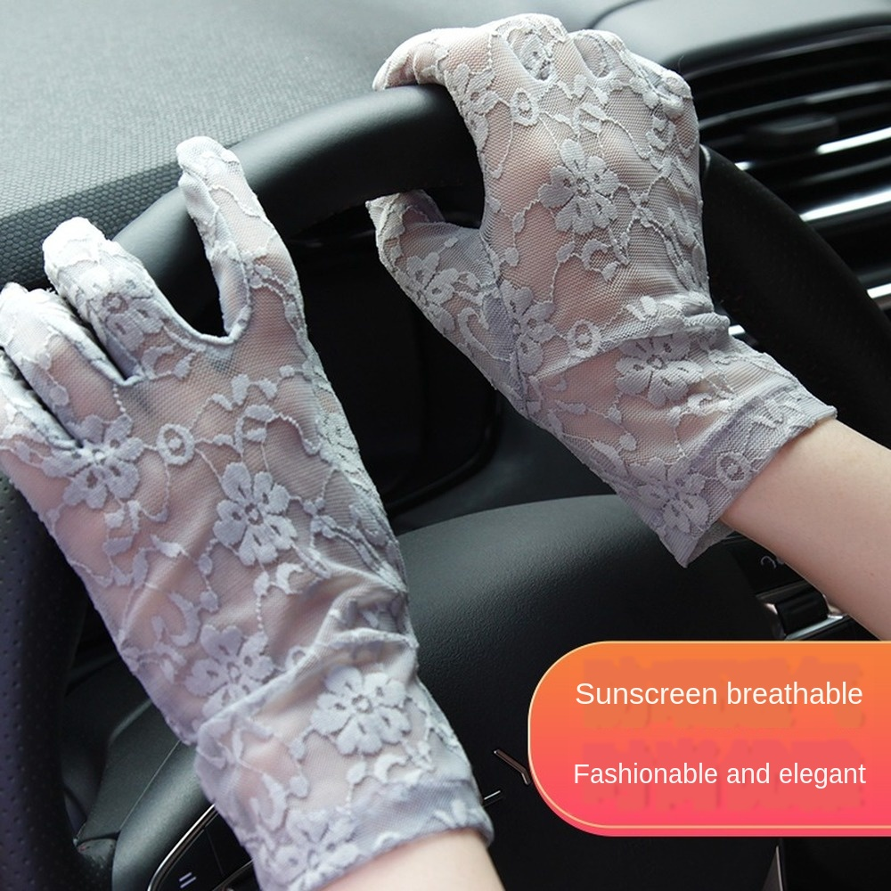 Summer Sun Lace Mesh Female Gloves Driving Gloves Breathable Fashion Men's Gloves