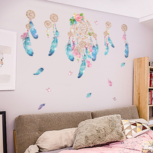 Removable Dreamcatcher Wall Stickers for Living room Bedroom Door Self-adhesive DIY Wall Decals Vinyl Wall Murals Home Decor removable green leaf wall stickers for living room bedroom door self adhesive refrigerator diy wall decals vinyl art wall murals