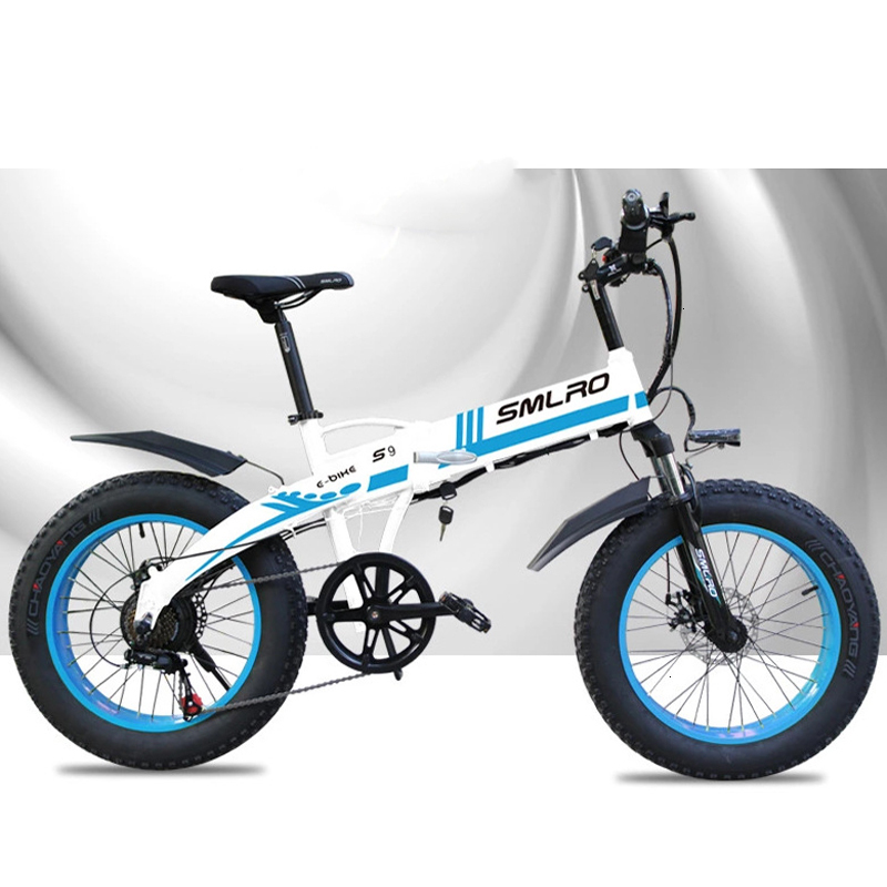 You can customize SMLRO 36V 10AH 350W beach snowflake beach double disk brake folding bicycle electric ebick
