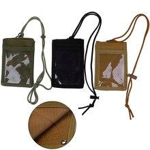 Soporte de tarjeta de identificación ejército ventilador táctico caja de tarjeta de identificación parche cuello cordón y organizador de tarjeta de crédito
