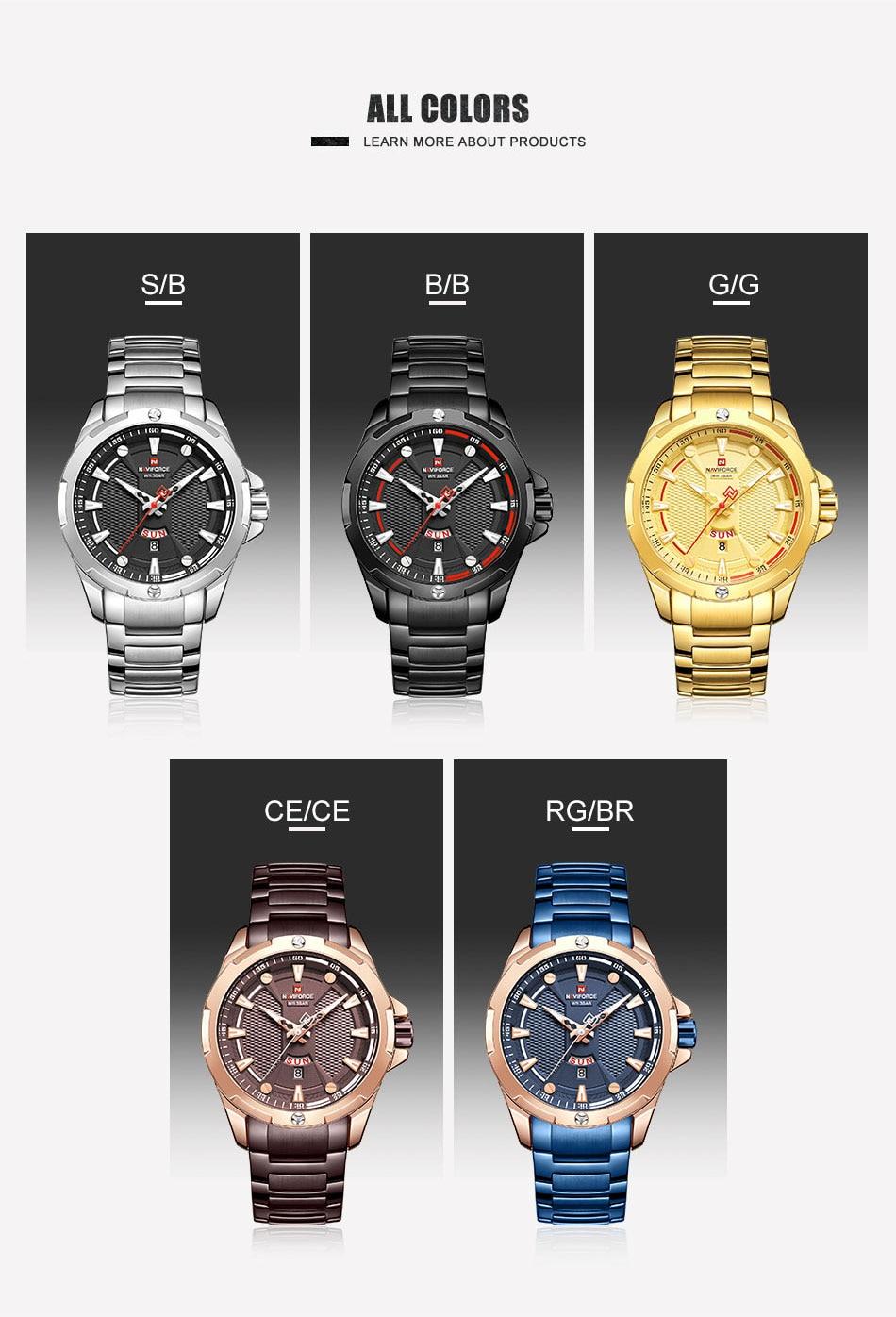 H8af3cf15820041f7922ce1050621ad78B Men's Watches Top Luxury Brand NAVIFORCE Analog Watch Men Stainless Steel Waterproof Quartz Wristwatch Date Relogio Masculino