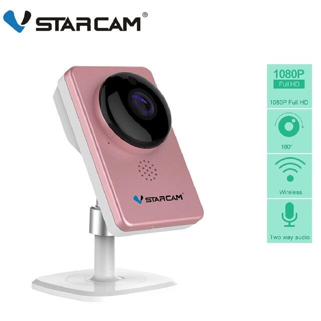 VStarcam WiFi Mini kamera panoramiczne widzenie nocne z wykorzystaniem podczerwieni bezprzewodowe z czujnikiem ruchu Alarm ekran wideo kamera IP C60S różowy