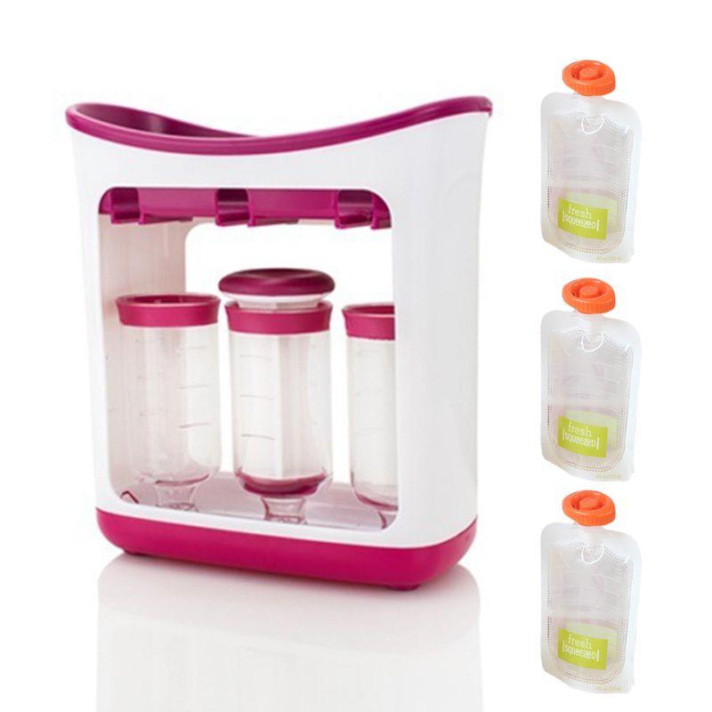 Children Puree Squeezer Household Fruit Juice Dispenser Manual Baby Food Supplement Storage Bag Container