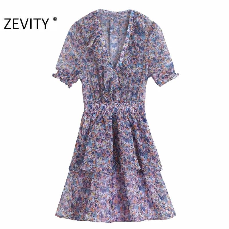 ZEVITY women vintage pleats ruffles v neck print chiffon mini dress lady elastic waist double layer vestidos chic dresses DS4259