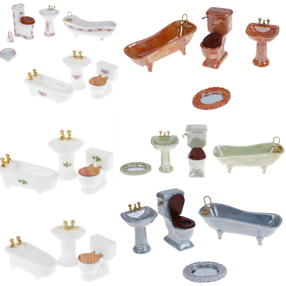 1:12 Dollhouse Miniature Furniture Scene Mini Bathroon Set Model Toy Shower Bathtub Basin Flush Toilet Pretend Play Doll Houses
