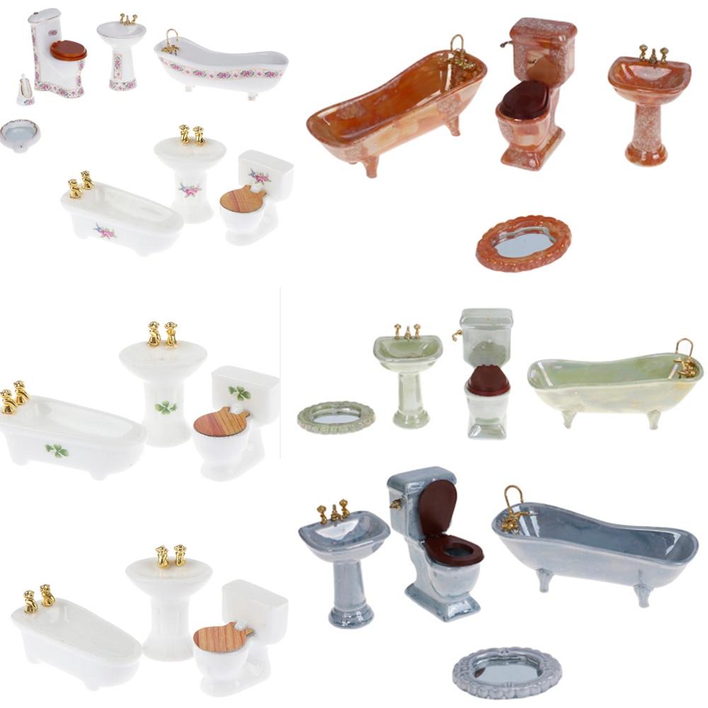 1:12 Dollhouse Miniature Furniture Scene Mini Bathroon Set Model Toy Shower Bathtub Basin Flush Toilet Pretend Play Doll Houses