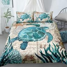 Antiguo tortuga vintage edredón conjunto king queen doble completo doble tamaño único juego de ropa de cama