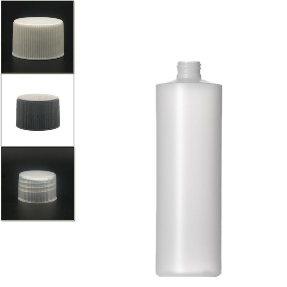 500ml Empty Plastic Soft  Bottle , HDPE Cylinder Round With Black/white/transparent Ribbed Screw Lids