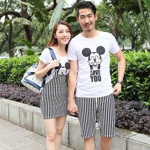 Корейская одежда для пар, футболки с Микки, модные стильные парные футболки для влюбленных, женское летнее пляжное платье, подходящая одежд...