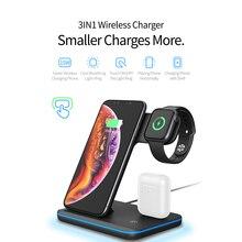Kablosuz şarj standı iWatch için iPhone telefon AirPods Pro kulaklık üçü bir arada hızlı kablosuz şarj standı tutucu istasyonu