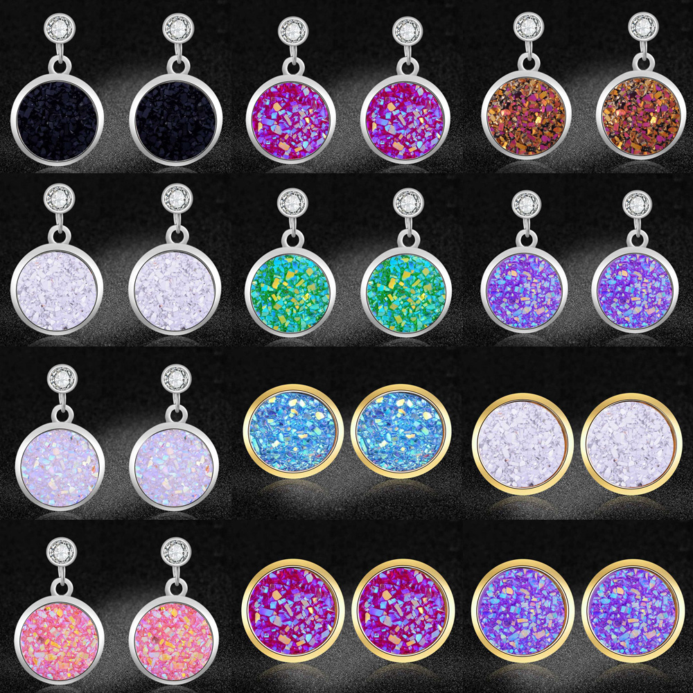 LaVixMia Authentic Stainless Steel Rainbow Druse Resin Jewelry Earring Wholesale Female Stud Shining Earrings Dropshipping