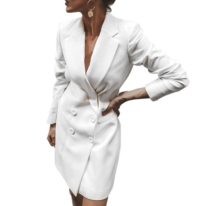 LOOZYKIT Autumn Winter Suit Blazer Women 2019 New Casual Double Breasted Pocket Women Long Jackets Long Sleeve Blazer Outerwear