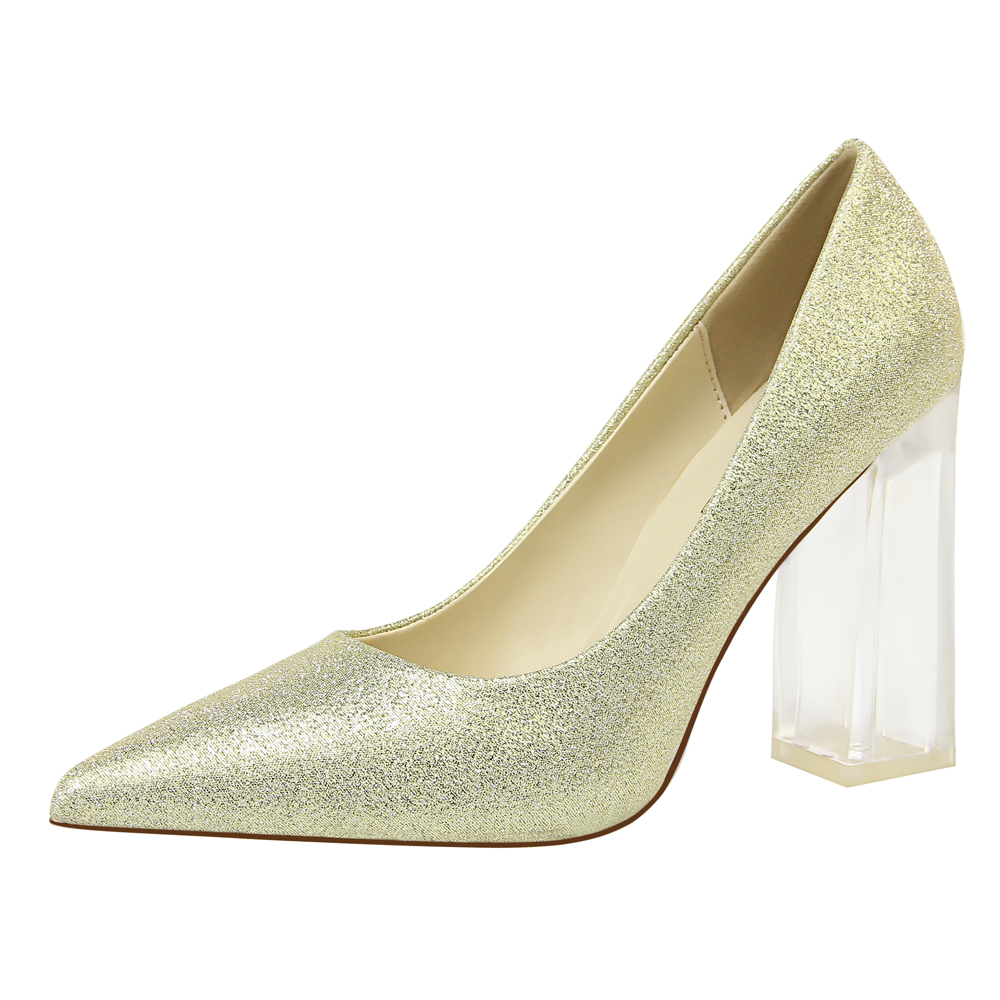 2019 New Pumps For Women Dress Shoes Thick Heels Wedding White Gold Sliver Sexy Bigtree Black G0088