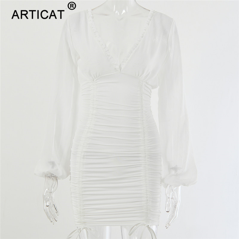 Articat Chiffon Summer Autumn Dress Women 19 Sexy Long Sleeve Slim Elastic Bodycon Bandage Dress Short Pleated Party Dresses 12