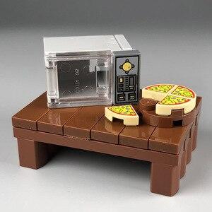 Scene Toy Block Microwave Table Turkey Pizza Food Building Blocks Party Halloween MOC Accessories Bricks DIY Kits Toys(China)