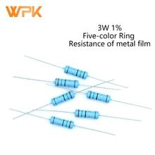 20Pcs 3W Metal Film Resistor 0R-22M 1% Tolerance 0.1R 0.3R 0.39R 1R 1.5R 2R 3R 11R 15R 22R 47R 68R 100R 130R 10 Ohm Resistance