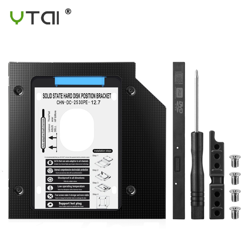 Aluminum 2nd HDD Caddy 12.7mm Optibay SATA 3.0 Hard Disk Drive Box Enclosure DVD Adapter 2.5 SSD For Laptop CD-ROM Sled