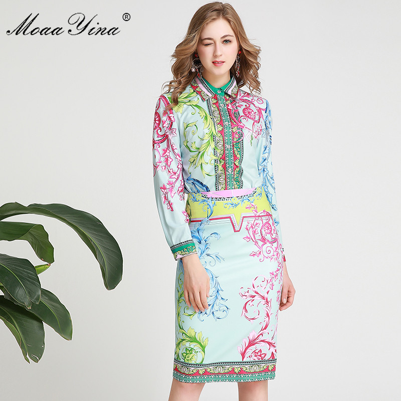 MoaaYina Fashion Designer Suit Spring Summer Women Long Sleeve Floral-Print Shirt Tops+Package Buttocks Skirt Two-piece Set