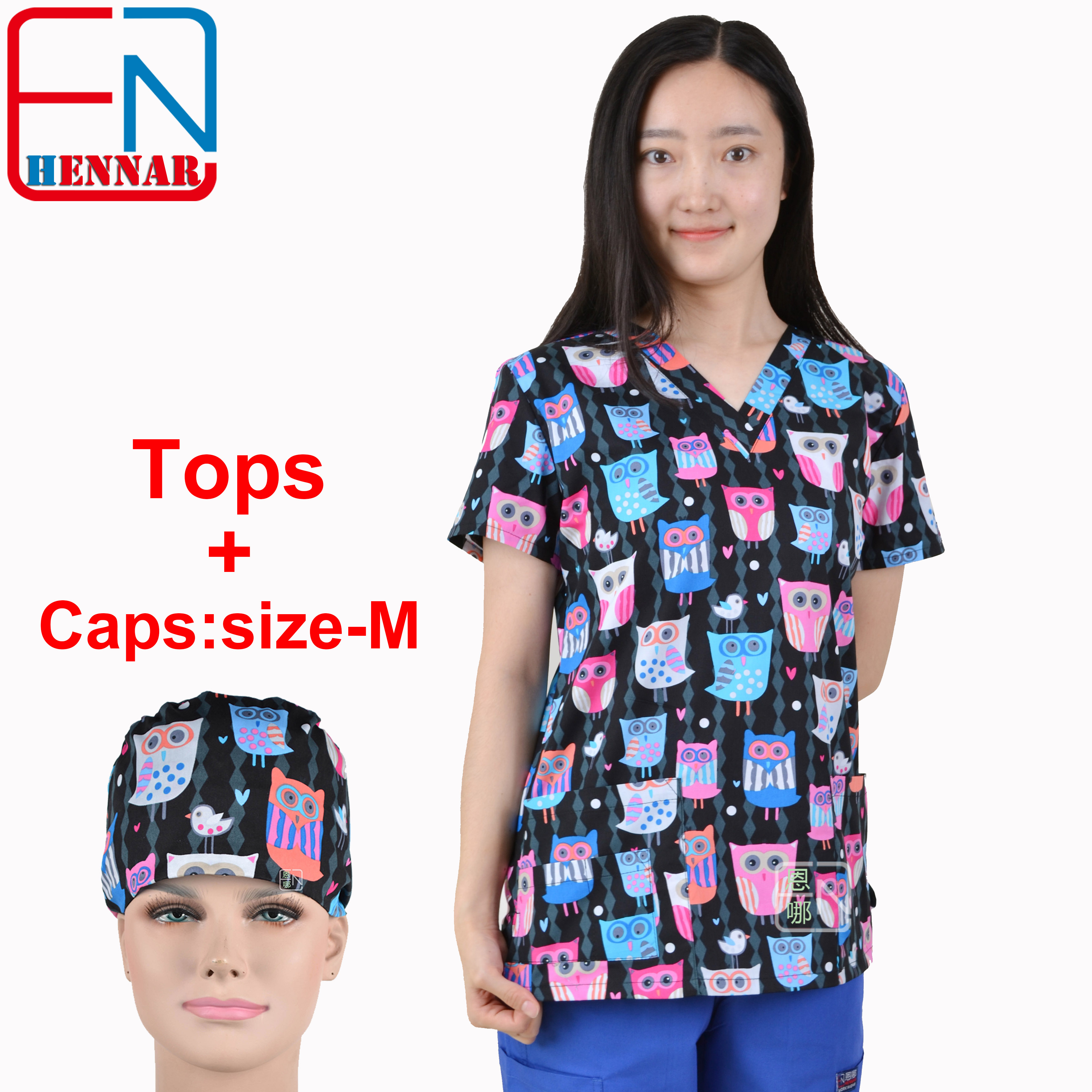 Brand medical scrub tops for women surgical scrubs,scrub uniform in 100% print cotton Chengse maotouyingScrub Tops & Bottoms   -