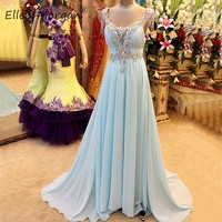 Light Blue Chiffon Evening Dresses Long Elegant 2019 Luxury Crystals V Neck Beads Zipper A Line Formal Special Occasion Gowns