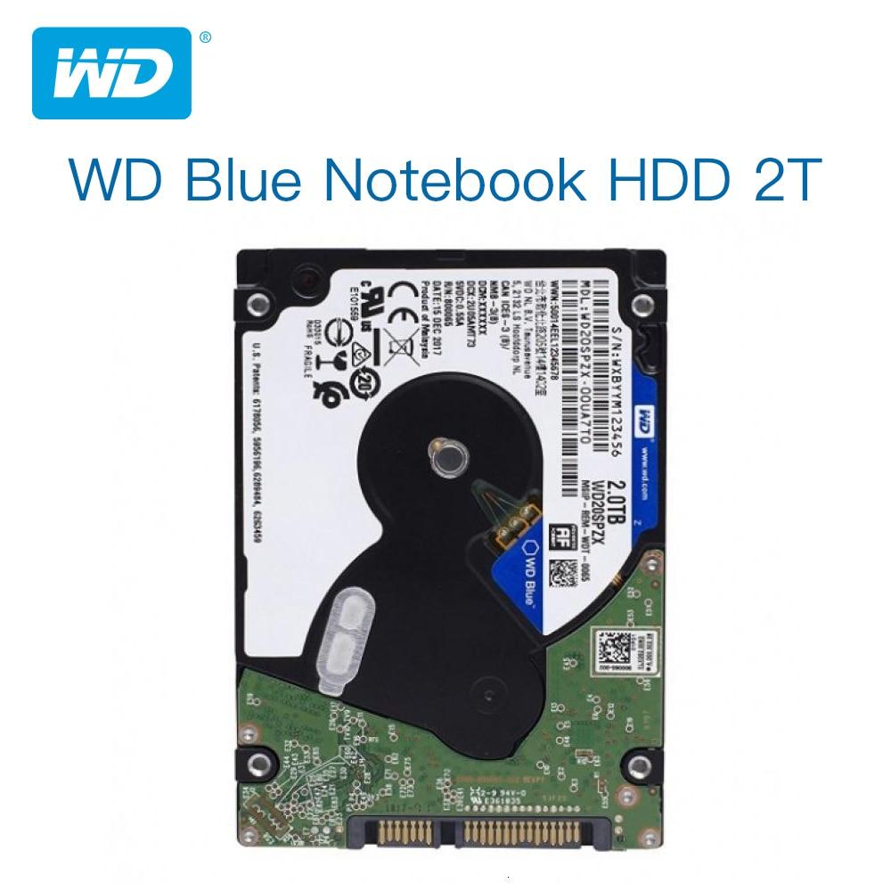 Wd azul 2 tb unidade de disco rígido móvel-5400 rpm sata 6 gb/s 128 mb cache 2.5 Polegada 7mm wd20spzx