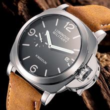 KIMSDUN luksusowe marki zegarek sportowy mężczyzn wodoodporna skóra Quartz wojskowy zegarek na rękę mężczyźni armii zegar mężczyzna relojes hombre hodinky tanie tanio OLMECA 22cm Moda casual 3Bar Klamra STAINLESS STEEL 14mm Hardlex Kwarcowe Zegarki Na Rękę Papier Skórzane 44mm AK-711D