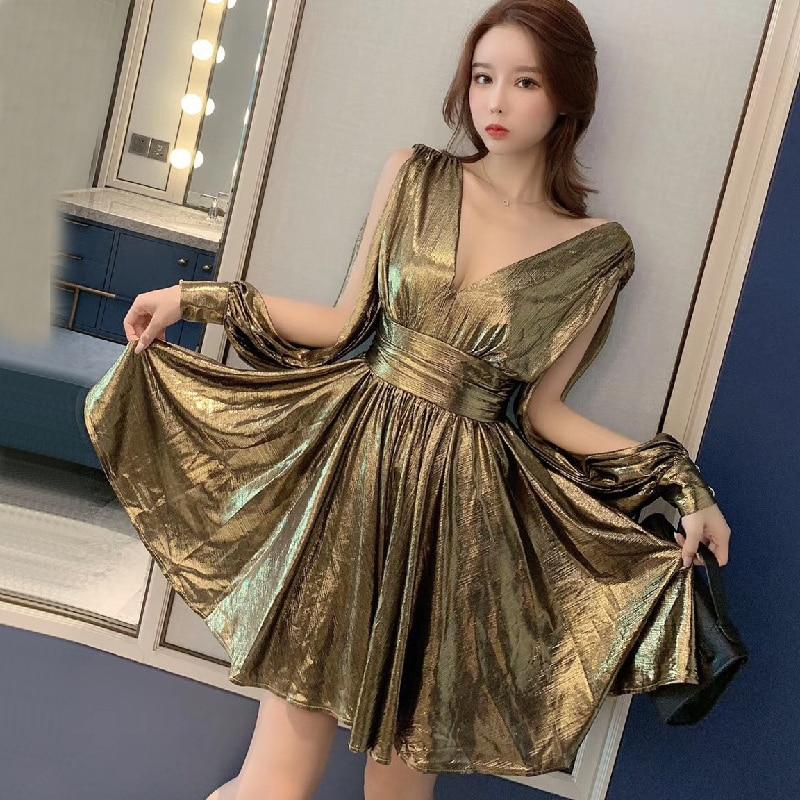 Paillettes d'or de luxe Split col en V Sexy robe de soirée rétro style français dame taille haute tempérament à manches longues robe boîte de nuit