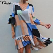 Ruffles Dress Half-Sleeve Celmia Plus-Size Patchwork Casual Women Loose Summer Mid-Calf