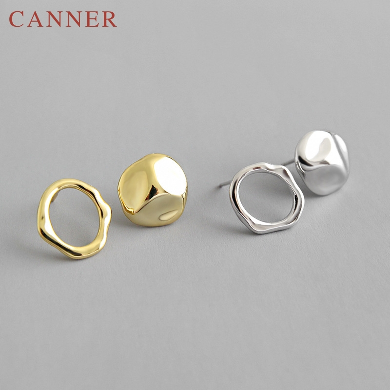 Cute Gold Silver color 925 sterling silver Geometric Mini Stud Earrings for Women INS Minimalist Heart Shaped Stud Earrings