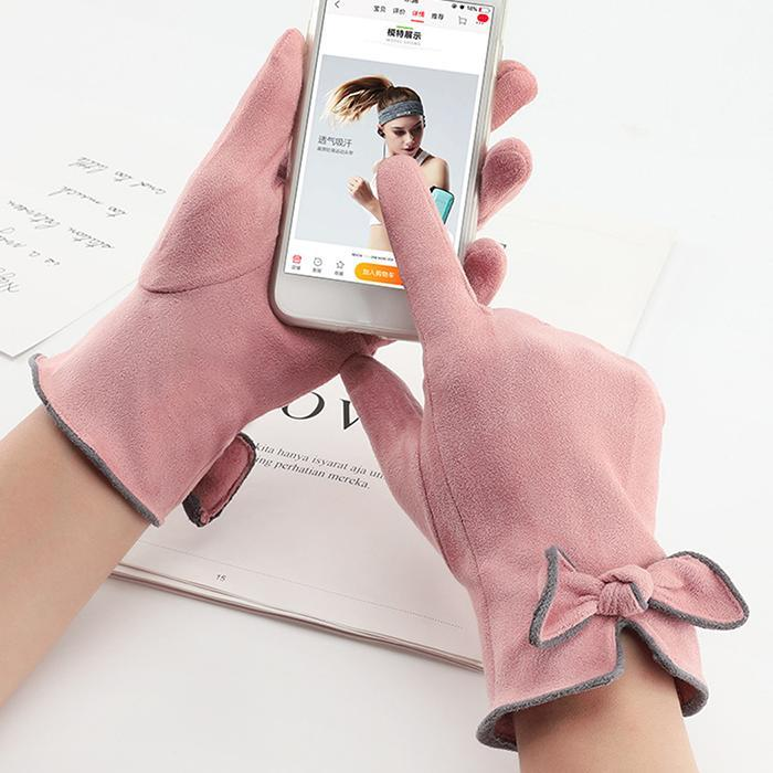 Touch Screen Gloves Winter Gloves Women Suede Bow Outdoor Leather Thicken Warm Gloves Female Elastic Mittens