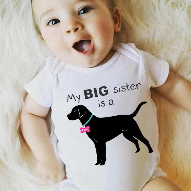 Brother And Sister Onesie Triangular Crawling Clothes MY Big Sister/Brother Is a... Lettered Dog Printed