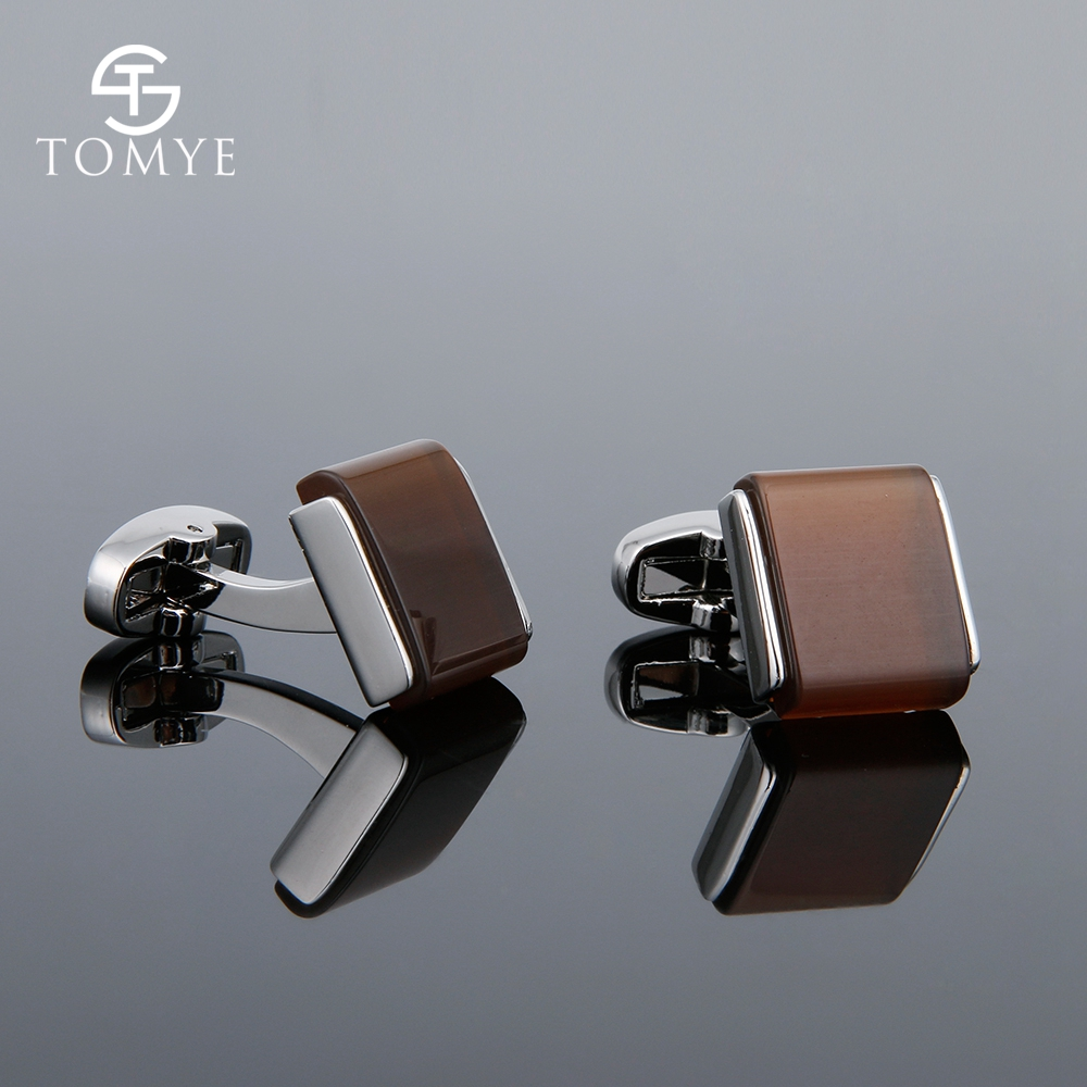TOMYE Men's High-End French Brown Opal Shirt Cufflinks Solid Color Casual Simple Fashion Accessory For Wedding XK18S025