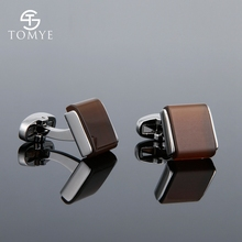 TOMYE Mens High-End French Brown Opal Shirt Cufflinks Solid Color Casual Simple Fashion Accessory For Wedding XK18S025