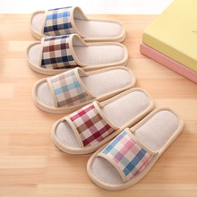 KLV 2019 Hot Sale Natural Flax Home Slippers Indoor Floor Shoes Silent Sweat Slippers For Summer Women Men Sandals Slippers
