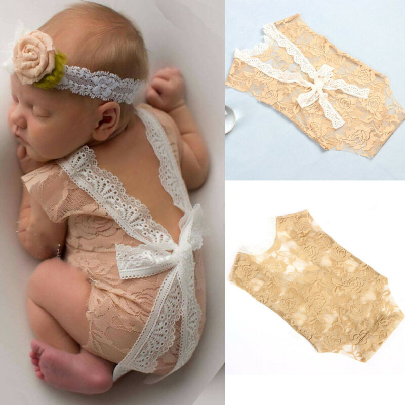 Newborn Baby Girls Lace Floral Romper Body Suit Photo Props Photography Costume