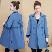 2019Fashion Women Trench Coat Autumn Medium Long Femel Coat Plus Size 3xl Button Women Clothes Turn Down Collar Windbreak M257