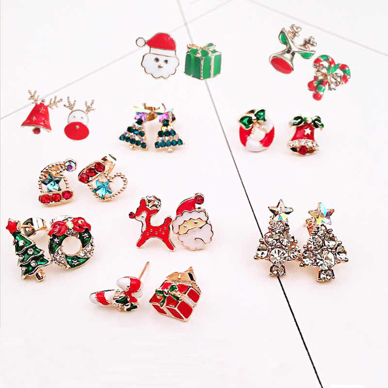 Women Colorful Christmas Elk Santa Claus Snowman Lovely Tree Bell Christmas Jewelry Stud Earrings For New Year Gifts