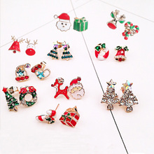 Women Colorful Christmas Elk Santa Claus Snowman Lovely Tree Bell Jewelry Stud Earrings For New Year Gifts