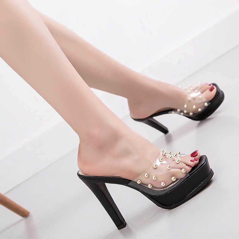 Sandalias de tacón alto para mujer con plataforma con remachados gruesos zapatos transparentes