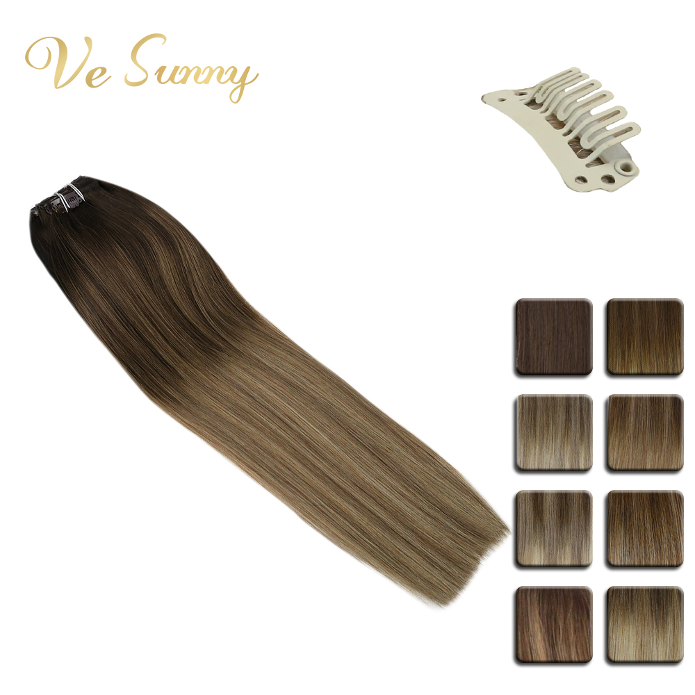 VeSunny Double Weft Clip In Hair Extensions Real Human Hair 7pcs 120gr Balayage Ombre Highlights Color Chocolate Brown Root