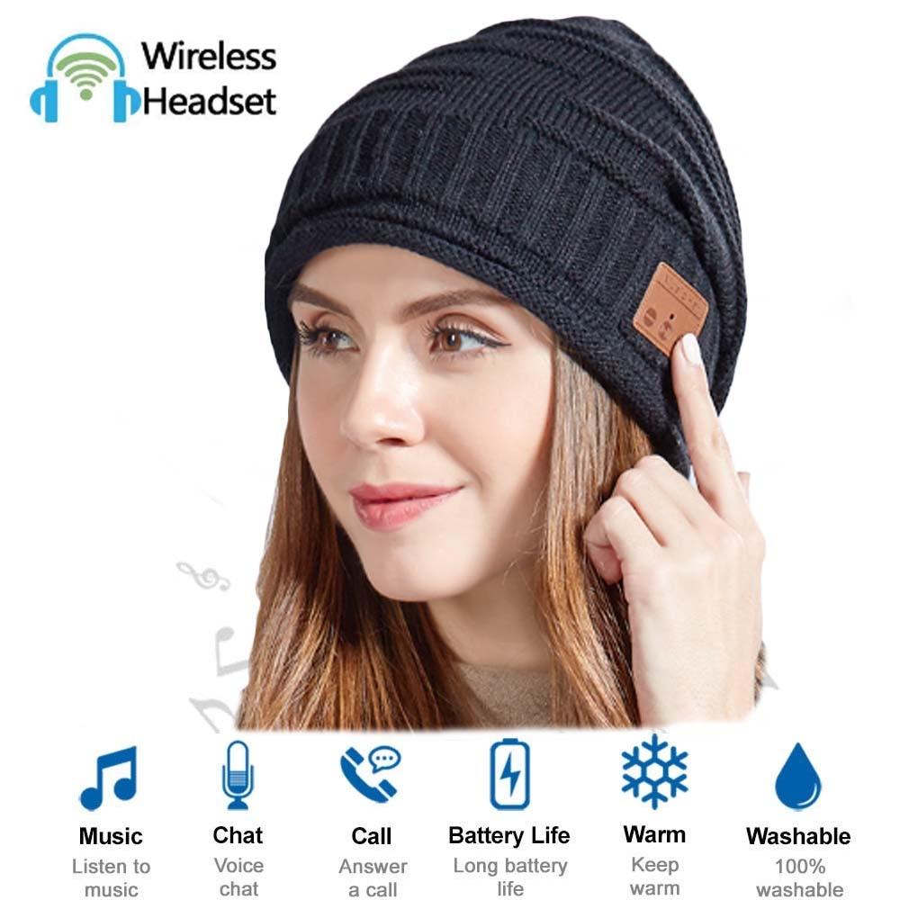 JINSERTA Bluetooth 5.0 Earphone Music Hat Winter Wireless Headphone Cap Headset With Mic Sport Hat For Smartphone Washable