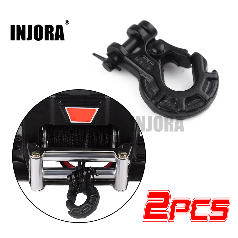 INJORA 2PCS RC Car Metal Winch Hook Decoration For 1/10 RC Rock Crawler Axial SCX10 90046 Tamiya CC01 Traxxas TRX4 MST Redcat