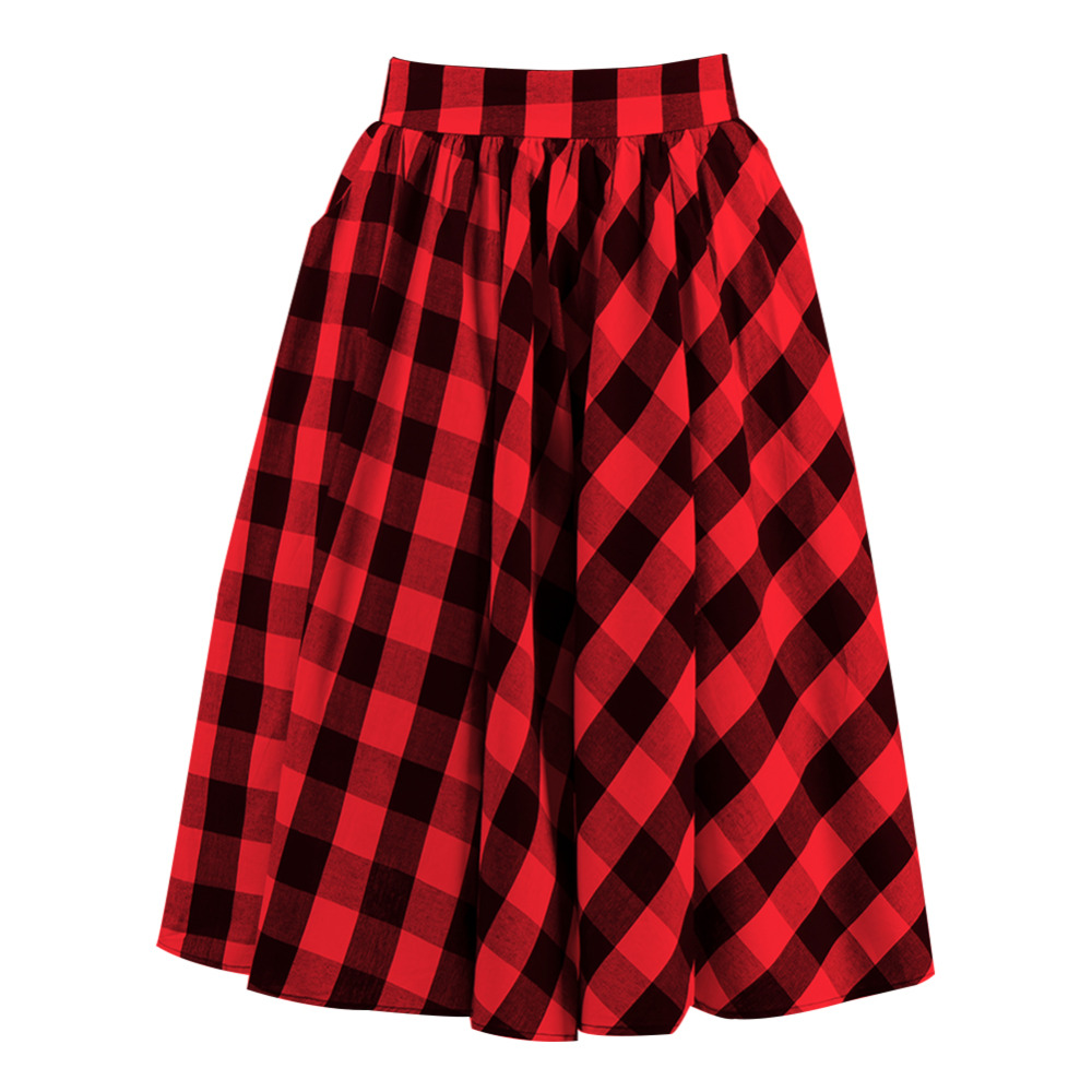 Vintage 1950s Full Circle Midi Skirt High Waist Cotton Knee Length Flannel School Red And Black Big Swing Rockabilly Plaid Skirt
