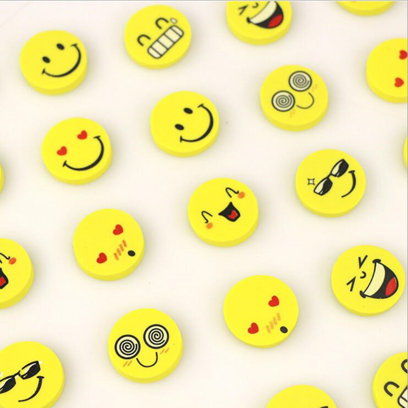 120pcs/lot Cute Smile Eraser Funny Face Rubber Eraser Creative Kawaii Stationery School Supplies Papelaria Gift For Kids