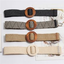 Summer Elastic Imitate Woven Straw Waist Belts Square Buckle Adjustable Woven-straw Waistband Bohemian Beach Dress BZ22
