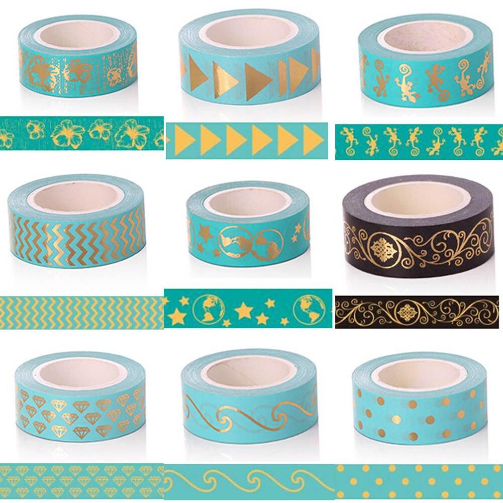 Gold Foil Dot Triangle Heart Diamond Foil Washi Tape 15MM*10M Kawaii Adesiva Decorativa For Gift Packing Wedding Papelaria