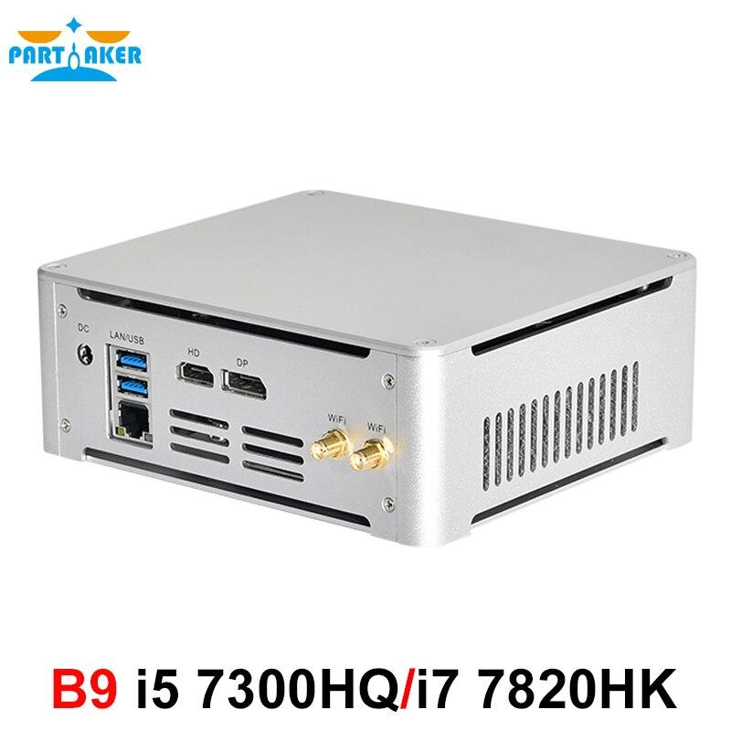 Partaker Mini PC Intel Core I5 7300HQ I7 7820HK DDR4 Windows 10 Linux 4K Gaming UHD HTPC HDMI DP Minipc Desktop Computer