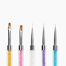 1pcs Women Double End Nail Art Brush Pen Rhinestones Handle