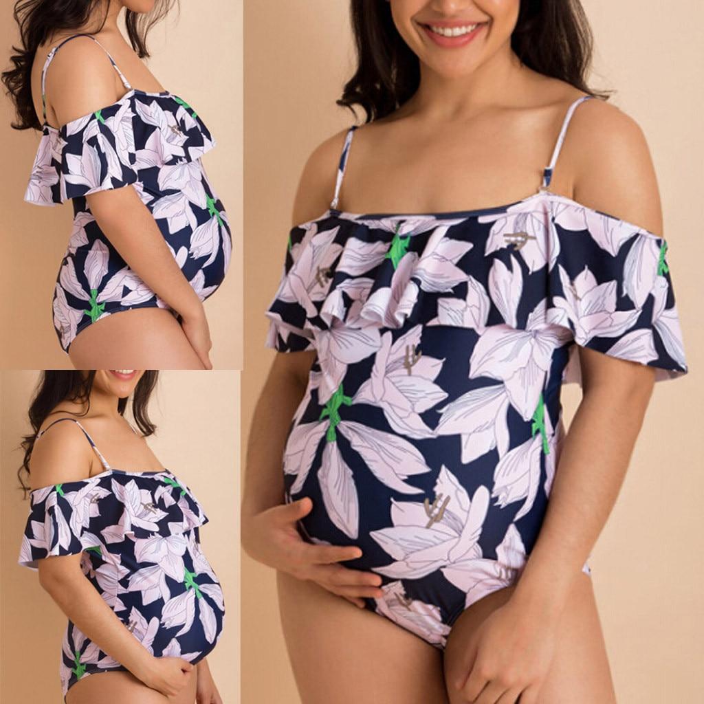 Женские Купальники для беременных танкини женский цветочный принт бикини купальник с оборками костюм для беременных женщин; Прямая поставка